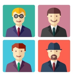 Flat colorful businessman avatar icons vector