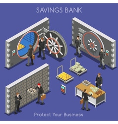 Bank office 01 people isometric bank office 02 vector
