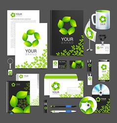 Corporate identity design sign symbol leaves vector