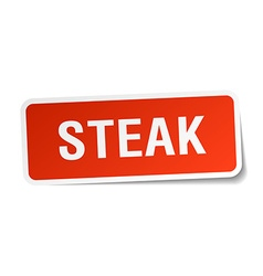 Steak red square sticker isolated on white vector