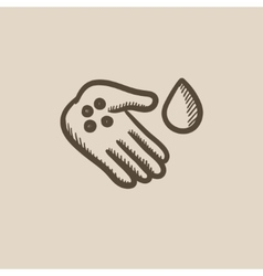 Hand with microbes sketch icon vector image