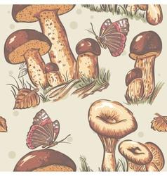 Autumn seamless texture of white mushrooms saffron vector