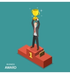 Business award isometric flat concept vector image vector image