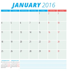 Calendar 2016 flat design template january week vector