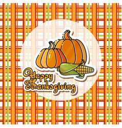 cartoon pumpkins corn and handwritten words happ vector image