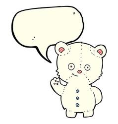 Cartoon waving polar bear cub with speech bubble vector