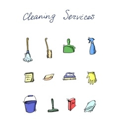 Cleaning services doodle icon set vector