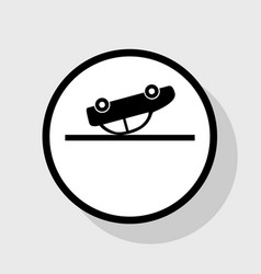 Crashed car sign flat black icon in white vector
