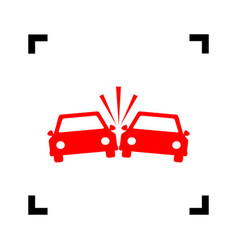 Crashed cars sign red icon inside black vector