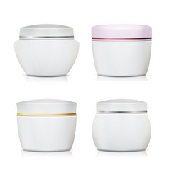 Cream container set plastic jar for vector