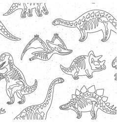 cute cartoon dinosaur skeletons silhouettes vector image