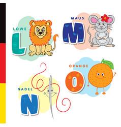 Deutsch alphabet lion mouse stylus orange vector