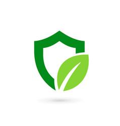 Eco leaves shield logo icon design template vector