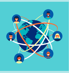 Global internet social network people team concept vector