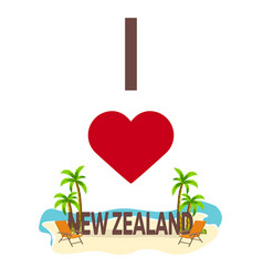 i love new zealand travel palm summer lounge vector image
