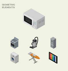 Isometric technology set of television stove vector