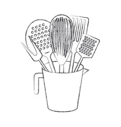jar with kitchen utensils monochrome blurred vector image vector image