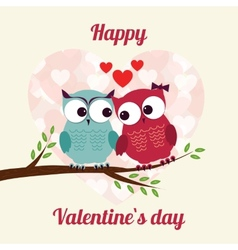 Lovers and happy owls on tree with hearts vector image vector image