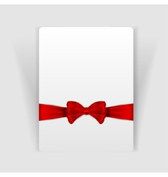 Nice red bow on the card vector image vector image