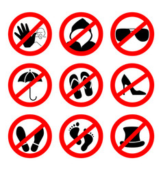 Prohibition sign icons collection set of vector