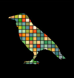 Raven bird mosaic color silhouette animal vector