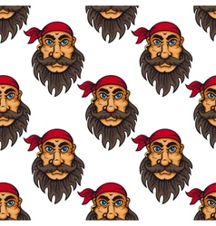 Seamless pattern of a bearded pirate or sailor vector image vector image