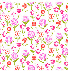 seamless pattern with bright line flowers vector image vector image