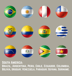 South america round flags vector