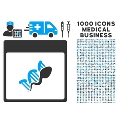 Sperm dna replication calendar page icon with 1000 vector