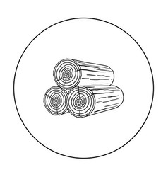 stack of logs icon in outline style isolated on vector image