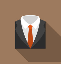 suit and tie icon with long shadow vector image vector image