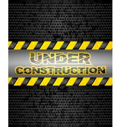 under construction black metallic background vector image vector image