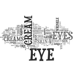Why do we need eye creams text word cloud concept vector