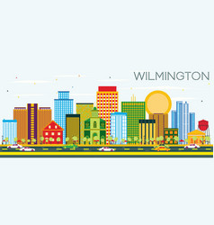 Wilmington skyline with color buildings and blue vector