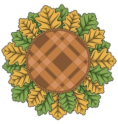 With autumn leaves and plaid vector