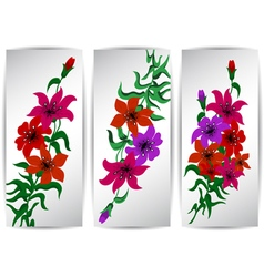Banners with colorful flowers vector