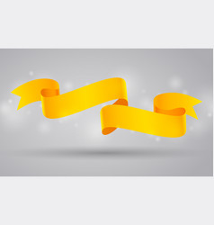 Yellow curved ribbon or banner vector