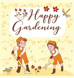 Happy gardening cute couple greeting card vector