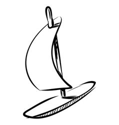 Wind surfing board isolated on white vector image