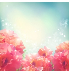 Shining flowers roses peonies background vector