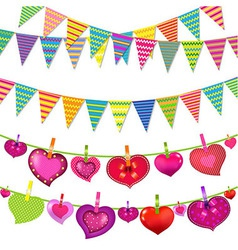 Garlands with bunting flags and hearts vector
