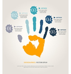 Hand print with numbers vector