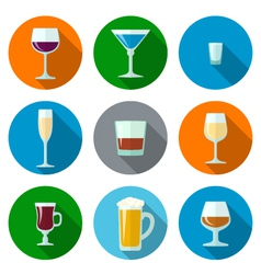 Set of flat design alcohol glasses icons vector