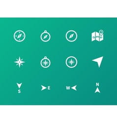 Compass icons on green background vector