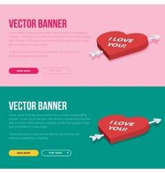 Set of 2 love banners for web development vector