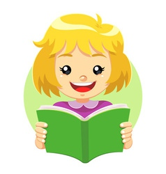 Little girl reading a green book vector