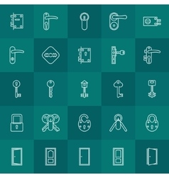 Keys and door lock icons vector