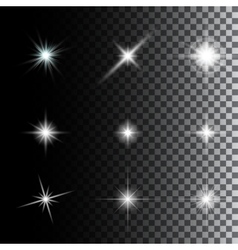 Set of glowing light effect stars vector