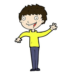 Comic cartoon happy boy waving vector
