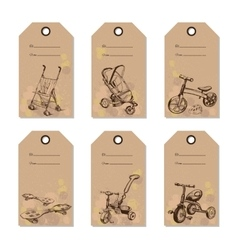 Set vintage baby transport gift card hand drawn vector